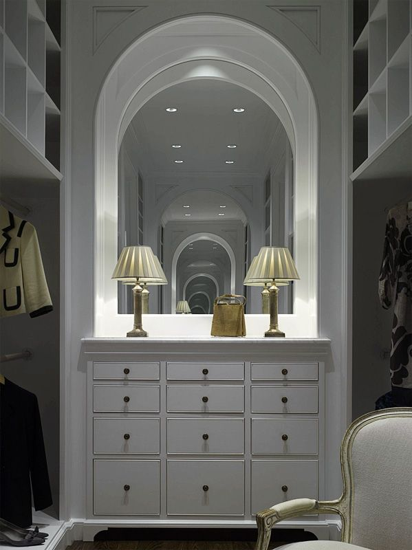 Closet Organization: Part One - Design Chic love the wood arch and gorgeous mirror