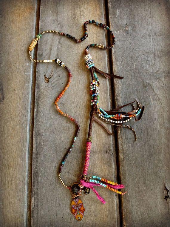 Boho Ethnic Hippie n  Boho Ethnic Hippie necklace Trade Beads Leather by BeadStonenSkin