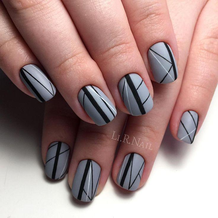 Геометрический дизайн ногтей, Идеи геометрического маникюра, Идеи серого маникюра, Маникюр зима 2017, Маникюр на февраль, Маникюр под серое платье, Серые ногти, Серый дизайн ногтей