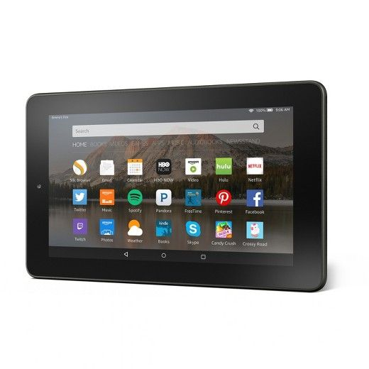 """The Fire Tablet features a 7"""" IPS display, Wi-Fi, 1.3 GHz quad-core processor, front and rear cameras, 8 GB or 16 GB of internal storage, up to 128 GB of expandable storage via microSD<br><br>• Amazon Underground, a one-of-a-kind app store experience where over $20,000 in apps, games and even in-app items are actually free - including extra lives, unlocked levels, unlimited add-on packs and more<br>• Access more than 38 million movies, TV shows, songs,..."""