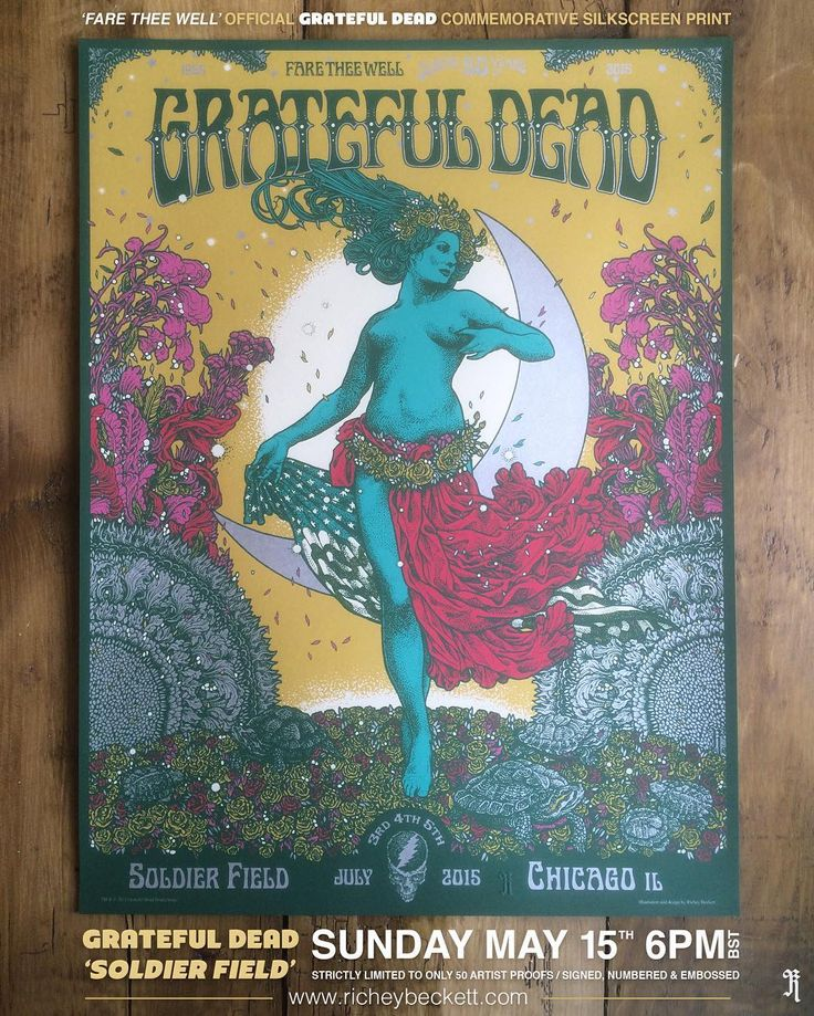 This SUNDAY Im very proud to present my official screen printed poster for the GRATEFUL DEADs Fare Thee Well show at SOLDIER FIELD Chicago.  http://ift.tt/s7XNRM  In 2015 GRATEFUL DEAD played a series of farewell shows to celebrate their incredible 50 year career including 3 nights at the legendary SOLDIER FIELD - a place cherished by fans as being the last venue to host the band before the passing of beloved band leader Jerry Garcia. SOLDIER FIELD is an official screen printed poster…