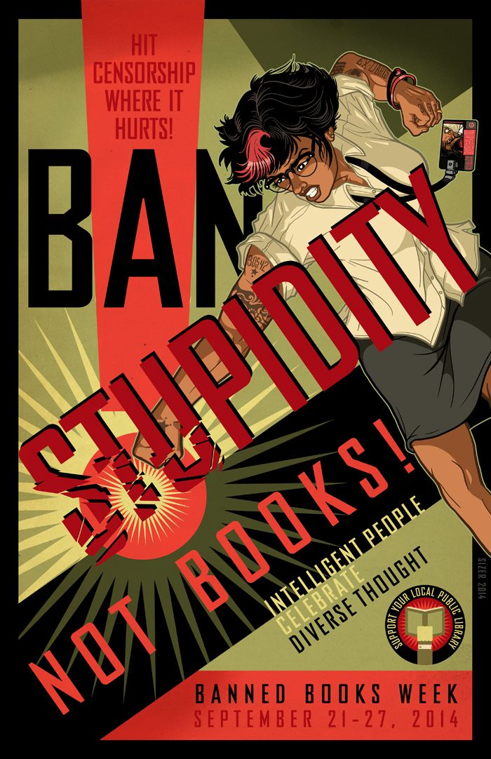 Banned Books Week 2014 poster by Paul Sizer Prints available at October Kalamazoo Art Hop