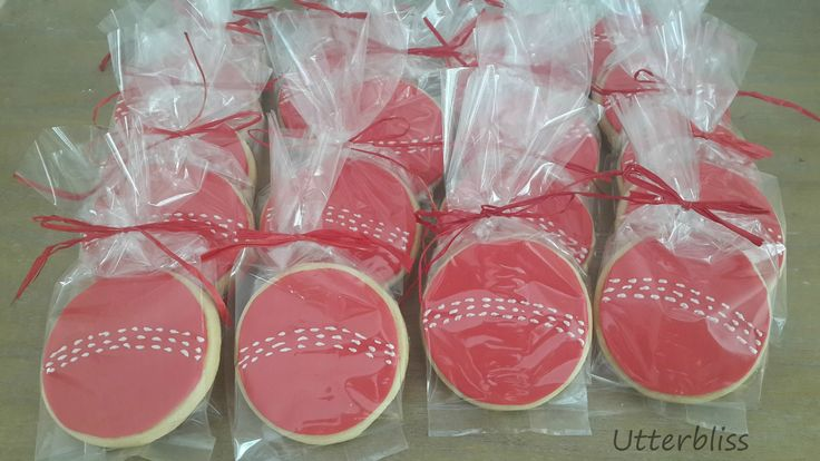 Cricket ball iced biscuits.