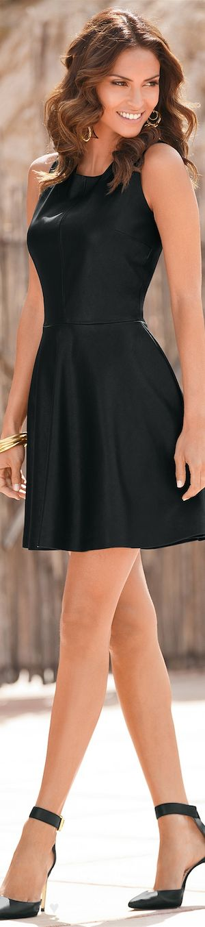 Faux Leather Fit and Flare Dress - Boston Proper LOOKandLOVEwithLOLO