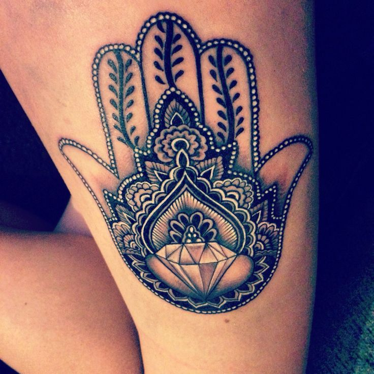 My hamsa hand tattoo with diamond. Protecting from evil, negativity and bad luck. Bringing happiness, blessings and strength to it's owner.