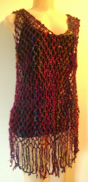 Crochet Top/dress  Gillet- Fits all sizes - One colour mixed yarn thread by HippieshopAfrica on Etsy
