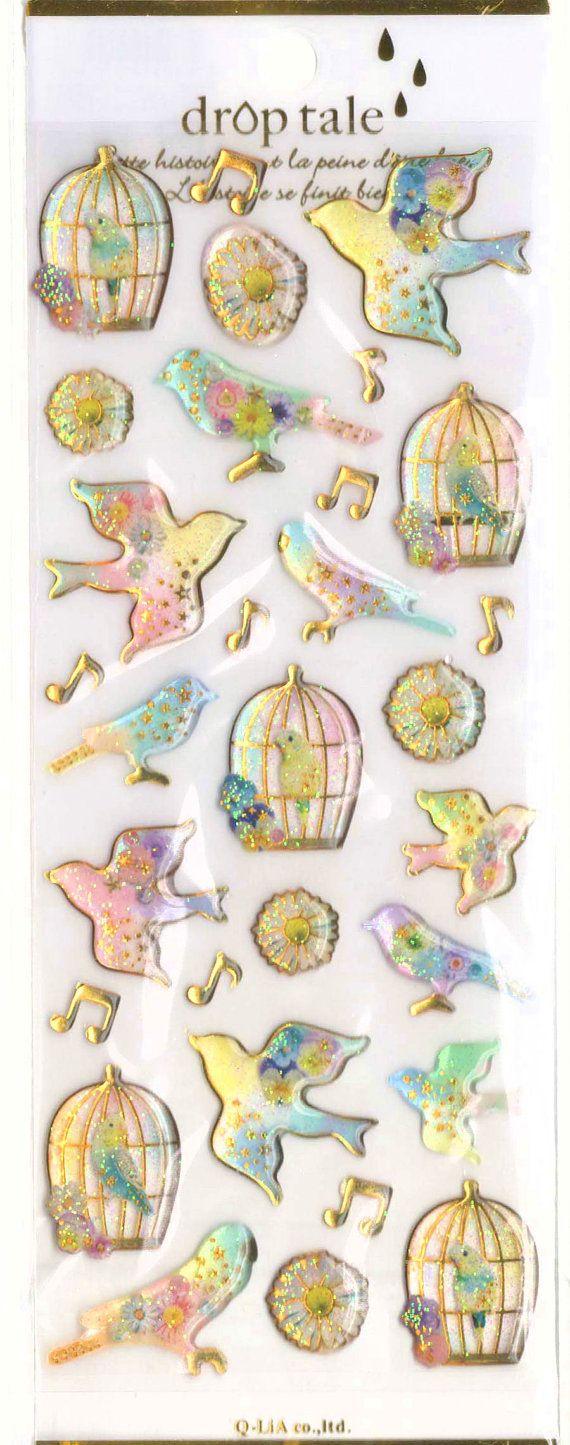 Kawaii Japan Sticker Sheet Assort Droptale Series: Glittery Birds Parakeets Budgies with Cages Musical Notes Stars