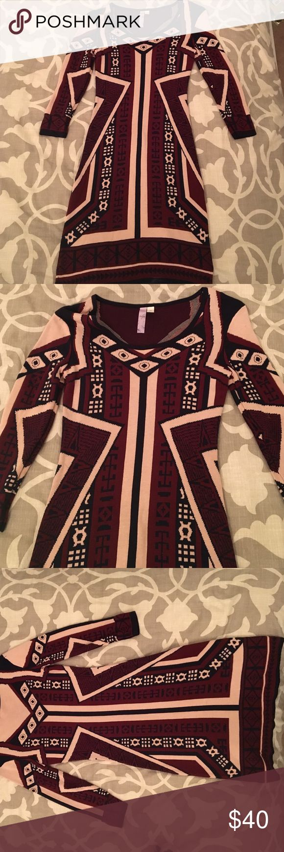 Tribal Sweater Dress Thick and form-fitting dress with tan and black tribal designs in a dark burgundy background Francesca's Collections Dresses Midi