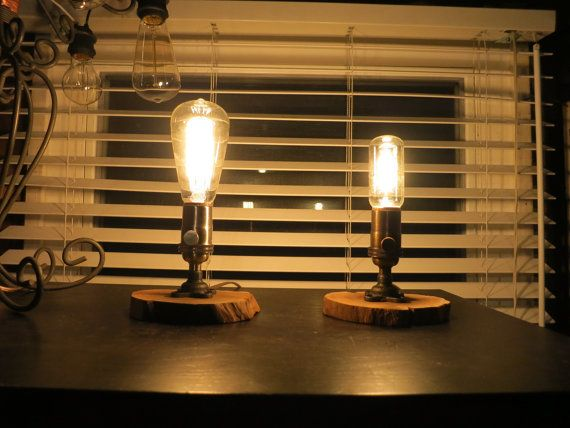 Rustic Chic Table Lamp With Reclaimed Wood Base Antique Brass Nickel Socket And Decorative Edison Bulb