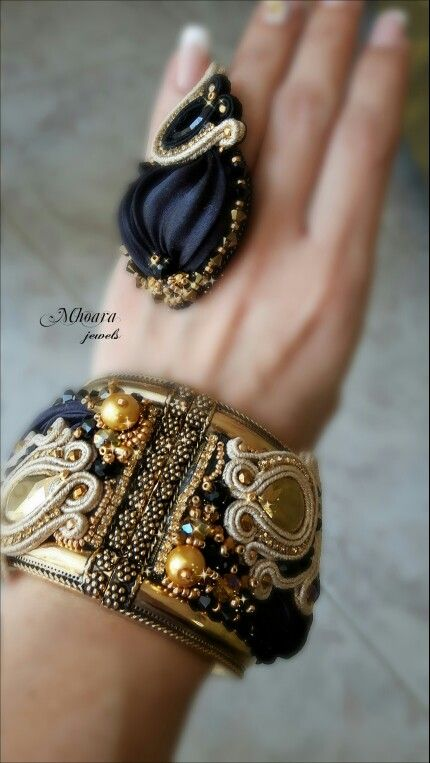 ' Princess of Arabia ' shibori silk and soutache design by Mhoara Jewels