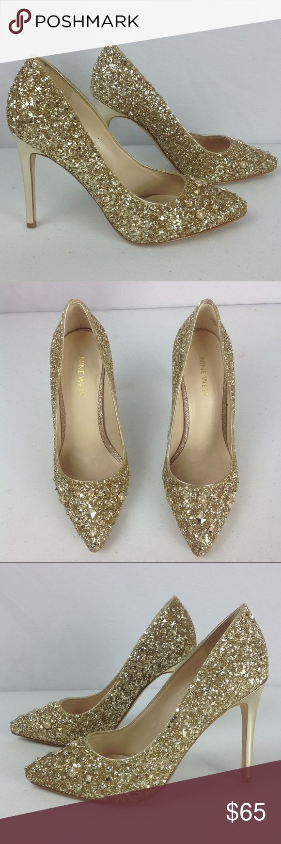 "Nine West Gold Elenah Synthetic Dress Pumps SZ 7M The most wear on these is in between the 2 shoes where they would rub (missing sparkles). The backs are missing some minimal sparkles as well. The heels show very minimal wear/scuffing!  The heels are just over 4 inches tall (not quite 4.25 inches). ""Well, Tamatoa hasn't always been this glam I was a drab little crab once Now I know I can be happy as a clam Because I'm beautiful, baby"" (from Moana) Nine West Shoes Heels"