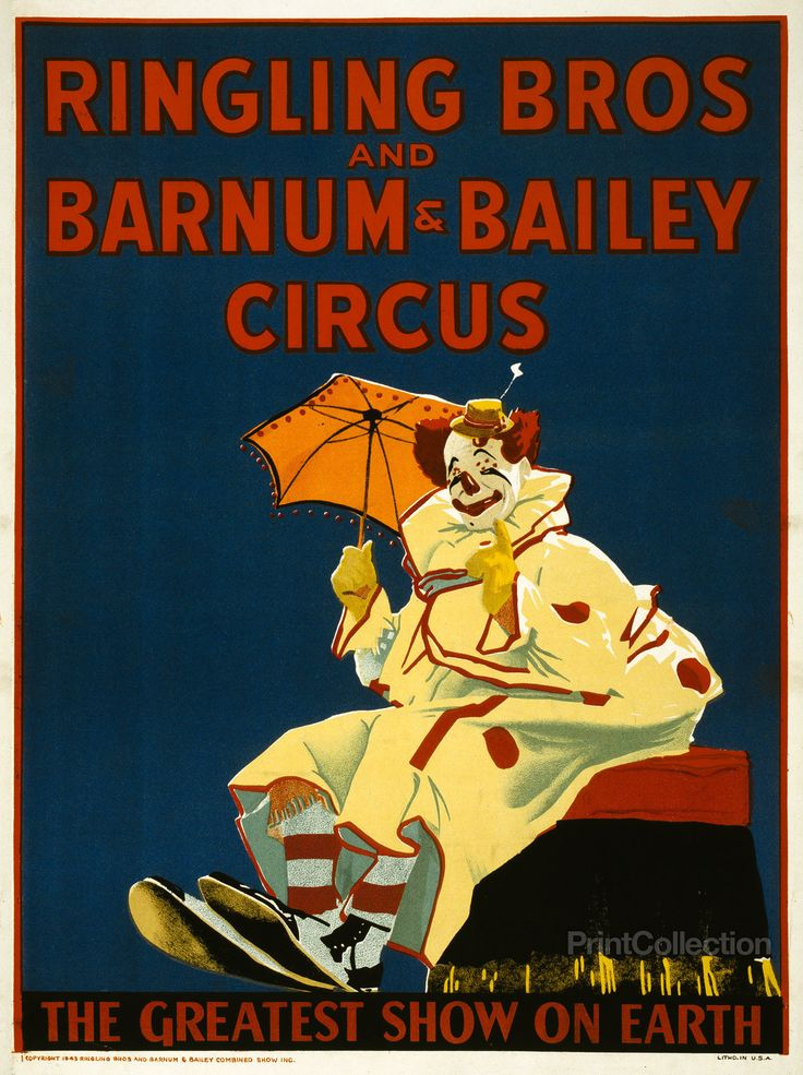 Ringling Bros and Barnum & Bailey Circus The greatest show on earth. Published in 1943 as a color lithograph at 70x53 cm. Poster showing a seated clown holding a small umbrella.