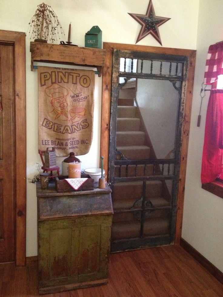 Old screen door hung on the door way going upstairs. & 48 best Primitive screen doors images on Pinterest | Old doors ...