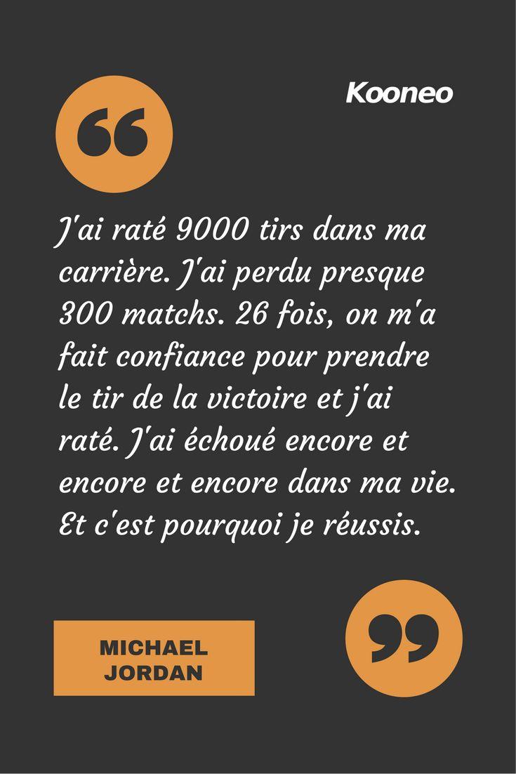 [CITATIONS] J'ai raté 9000 tirs dans ma carrière. J'ai perdu presque 300 matchs. 26 fois, on m'a fait confiance pour prendre le tir de la victoire et j'ai raté. J'ai échoué encore et encore et encore dans ma vie. Et c'est pourquoi je réussis. MICHAEL JORDAN #Ecommerce #Kooneo #Michaeljordan #Succes : www.kooneo.com