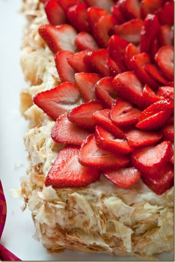 """Napoleon cake with strawberries! If you're looking for a simpler version of the famous """"Napoleon"""" cake, look no further. This cake uses store bought puff pastry."""