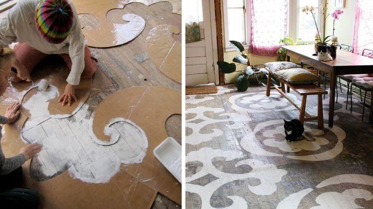 17 meilleures id es propos de sol au pochoir sur pinterest peindre des carreaux mod les de for Pochoir sur bois
