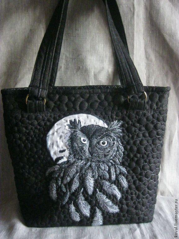 Купить Джинсовая сумка Ночной дозор вышивка машинная квилтинг - чёрно-белый, рисунок, сова