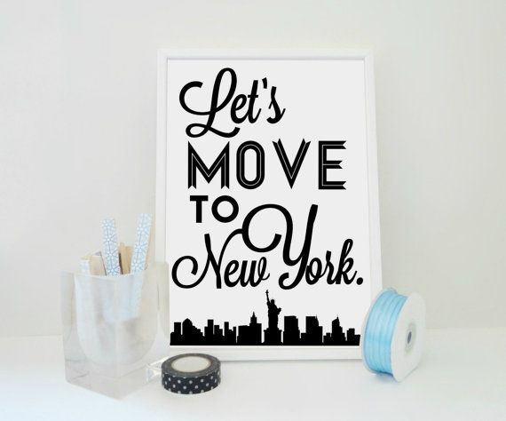 Lets Move to New York Art Print  NYC van SacredandProfane op Etsy