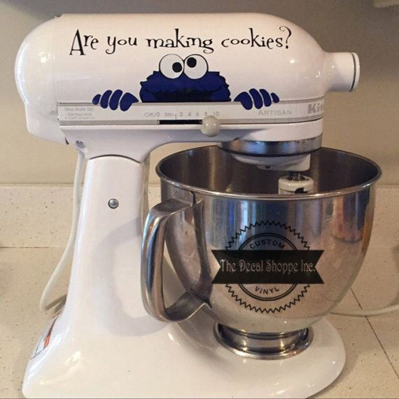 Mixer Decal, Cookie Monster Decal, Kitchen Aid Decal, Kitchen Decor, Housewarming Gift, Kitchen Deca