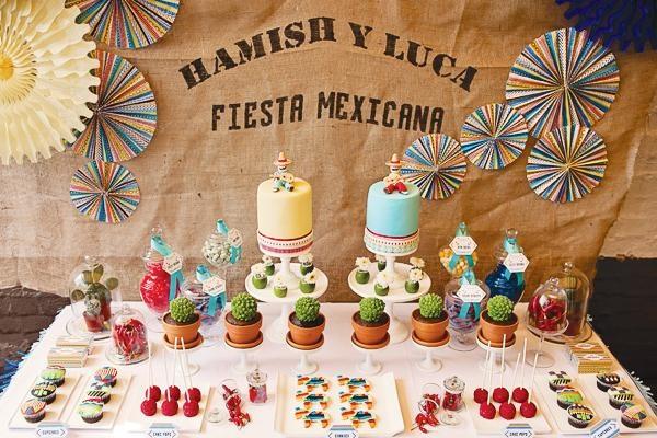Fiesta de cumplea os mexicana para gemelos mesas and fiestas - Mesas decoradas para fiestas ...