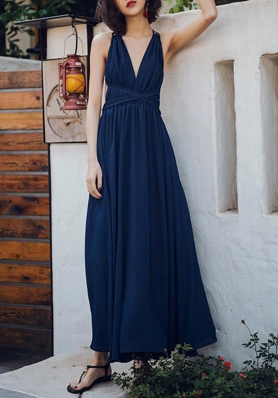 b56c8572870 Dark Blue Plain Condole Belt Cross Back Draped V-neck Fashion Maxi Dress