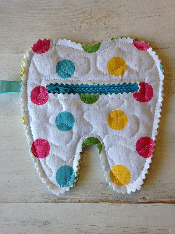 Quilted Tooth Fairy Zipper Pouch coin purse treats by CurbysCloset, $5.50 Cute idea!