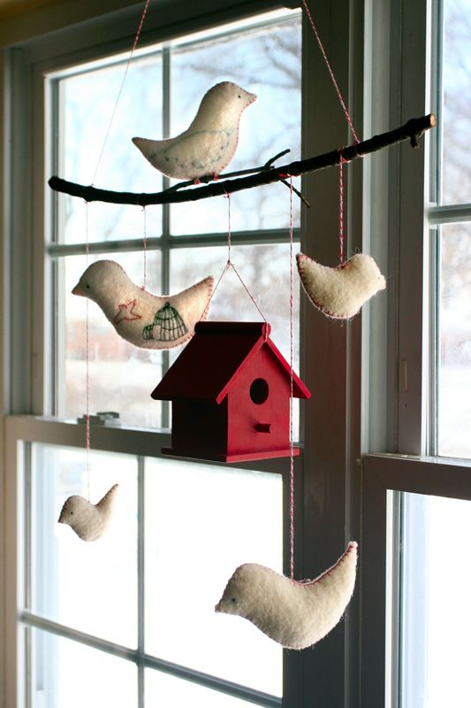 DIY Bird Mobile - love the idea of using a branch!