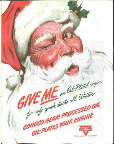 1940 ad for Conoco motor oil. The Saturday Evening Post.: Christmas Ads, Vintage Christmas, Christmas Adverti