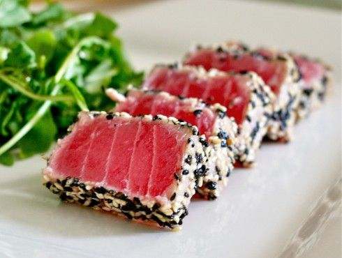 Sesame Crusted Seared Ahi Tuna  Making this for Easter Appetizer ! (Rolled in Ginger Seasame Seeds) Mm