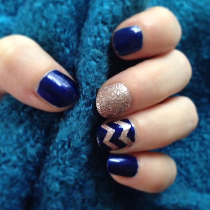 Chevron manicure nail art. Barry M navy and Barry M textured nail effect in Duchess