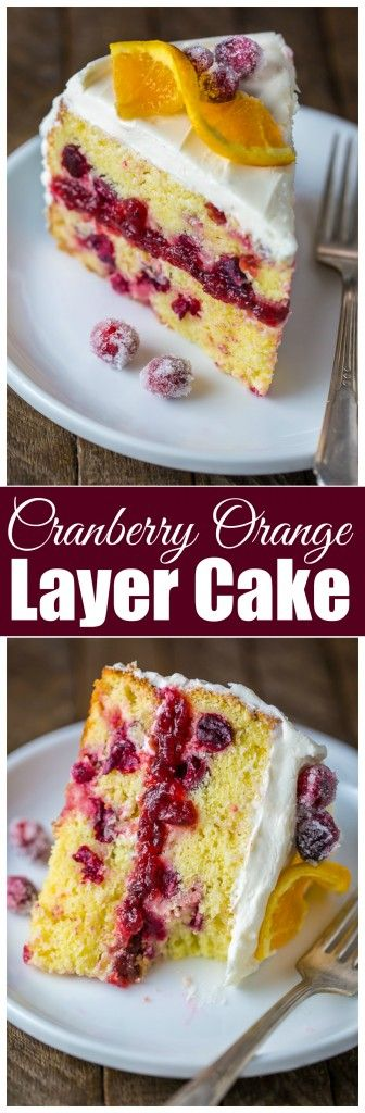 Cranberry Glazed Orange Layer Cake Recipe — Dishmaps