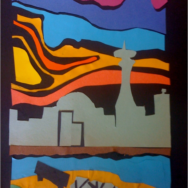 Landscape construction paper art in the style of Ted Harrison