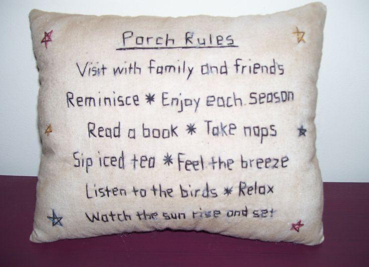 Primitive Country Porches | Primitive Country Porch Rules Stitchery Pillow by Me2UPrimitives