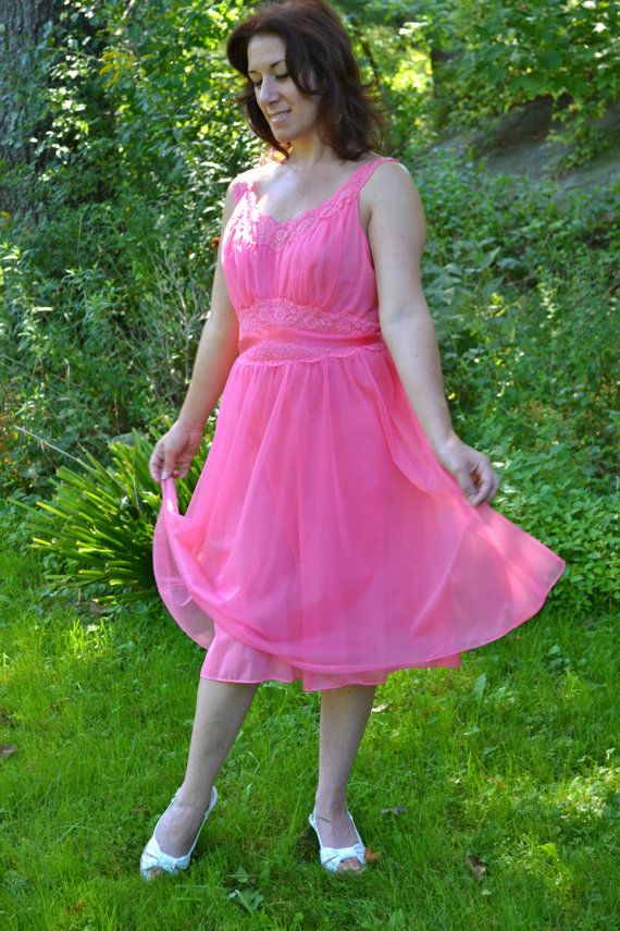 Pink Vanity Fair Chiffon Nightgown Dress Vintage 50 S