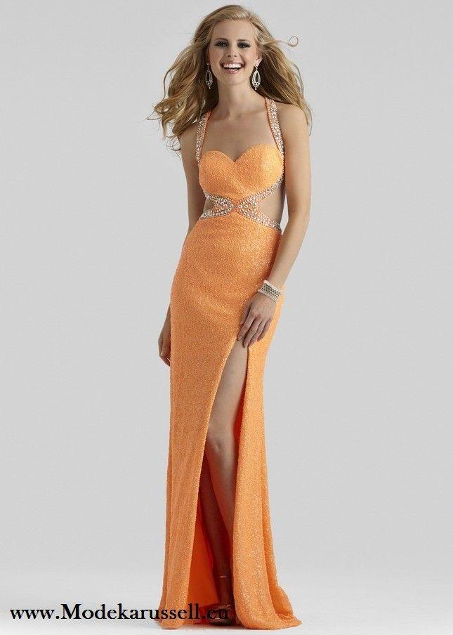 Sexy Cut Out Abendkleid in Orange