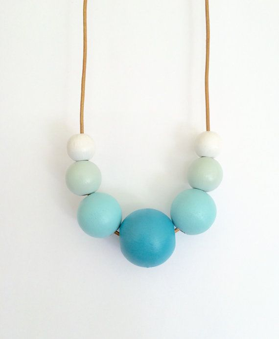 Hand painted wooden bead bubble necklace/ statement by MODFRESH