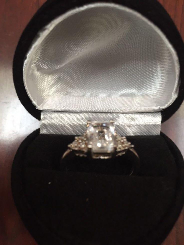 EMERALD CUT WHITE SAPPHIRE & DIAMOND ENGAGEMENT WEDDING BAND RING SZ 7 + GIFT! #EXCEPTIONALBUY #WithDiamonds