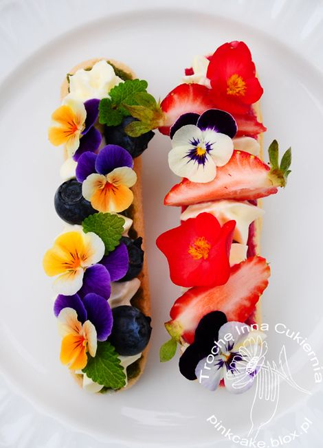 Conifers, rose jam, fruit and edible flowers bisquits