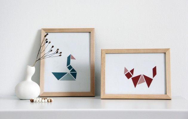 Tee itse värikkäät origamitaulut.
