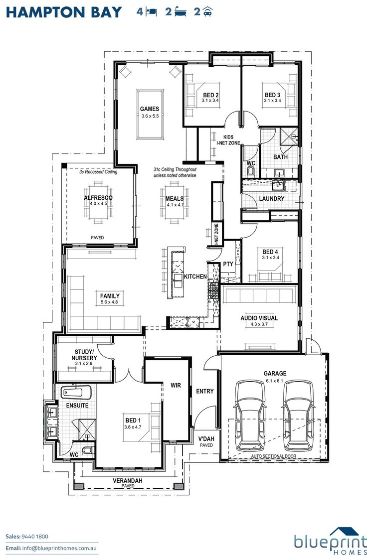 The Hampton Bay, 4 bedroom home design, Perth floorplans