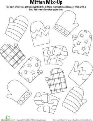 (jan)  Kindergarten Holiday Worksheets: Mitten Mix and Match