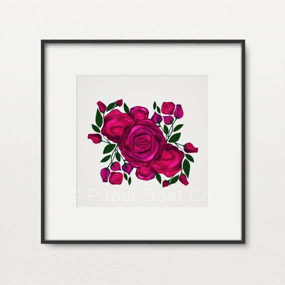 'Rose Bunch' Art Print by PaperBoatCo on Etsy | http://etsy.me/1WrYK6b