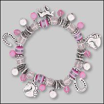 """Pink Bead & Horse Charm Stretch Bracelet . $10.00. Beads are different shades of pink with horse, horseshoe charms. Measures 7"""" long. Pink Bead & Horse Charm Stretch bracelet. Fast shipping with delivery confirmation included. Lead Safe"""