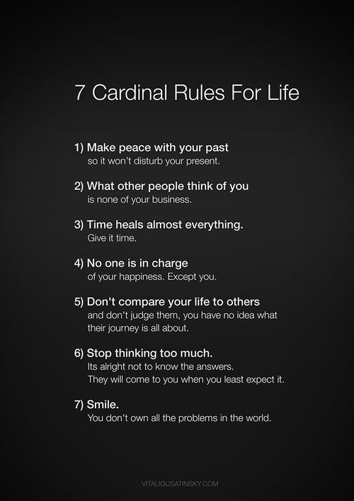 7 Cardinal Rules of Life. this is my resolution, work on these things cuz they do matter more than matierial things