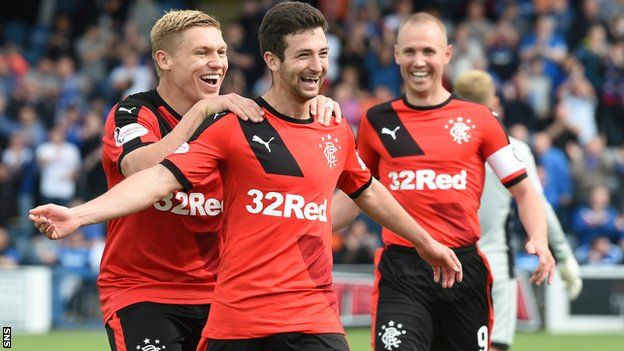 Rangers' Jason Holt celebrates   Rangers were much too slick for Queen of the South as they won comfortably at Palmerston Park in the Championship. The visitors' swift, sharp passing and ruthlessness in the final third created goals for Andy Halliday, Jason Holt and the excellent Barrie McKay. Martyn Waghorn scored two penalties as Rangers made it eight wins from eight.
