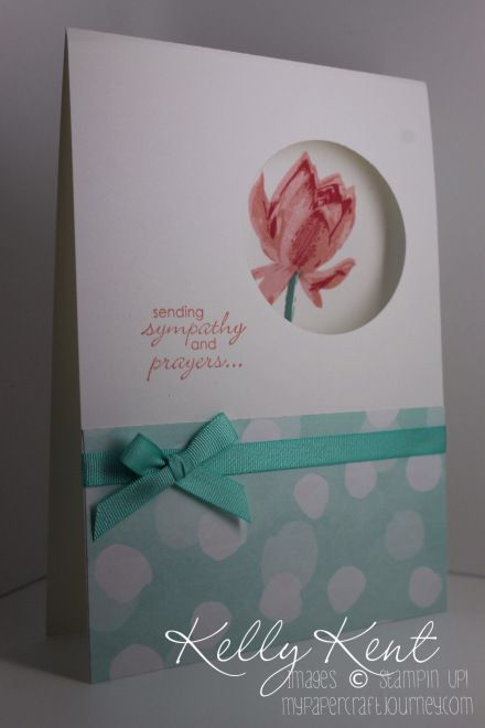 Dye cut circle . Stamp flower.  Add patterned paper and coordinated ribbon and stamped or dye cut greeting