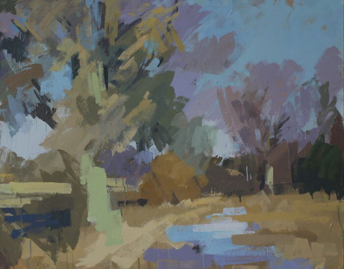 Trees in Winter, Hawkhurst.   Oil on canvas 30 x 38 ins.   Philip Richardson