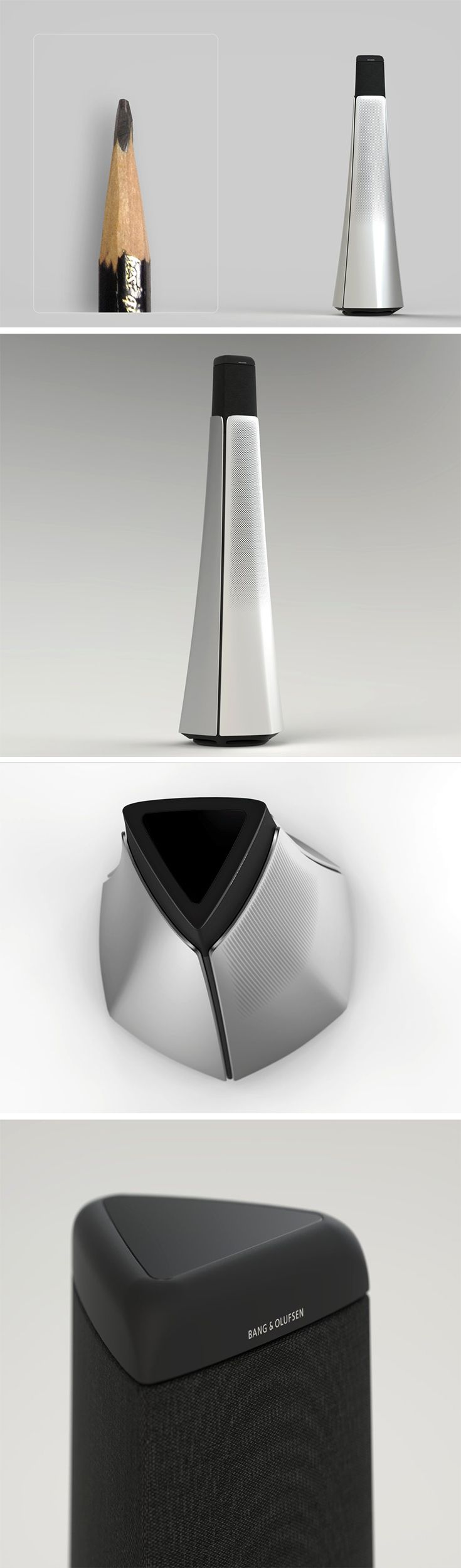 Designed as an homage to the pencil, the B&O Loudspeaker takes on the familiar form of the tip in an artistic, functional way. Like an old school knife-cut pencil, its hexagonal shape narrows gently from top to bottom. Though not immediately obvious to most, designers with a knack for drawing will recognize and appreciate this familiar fragment.