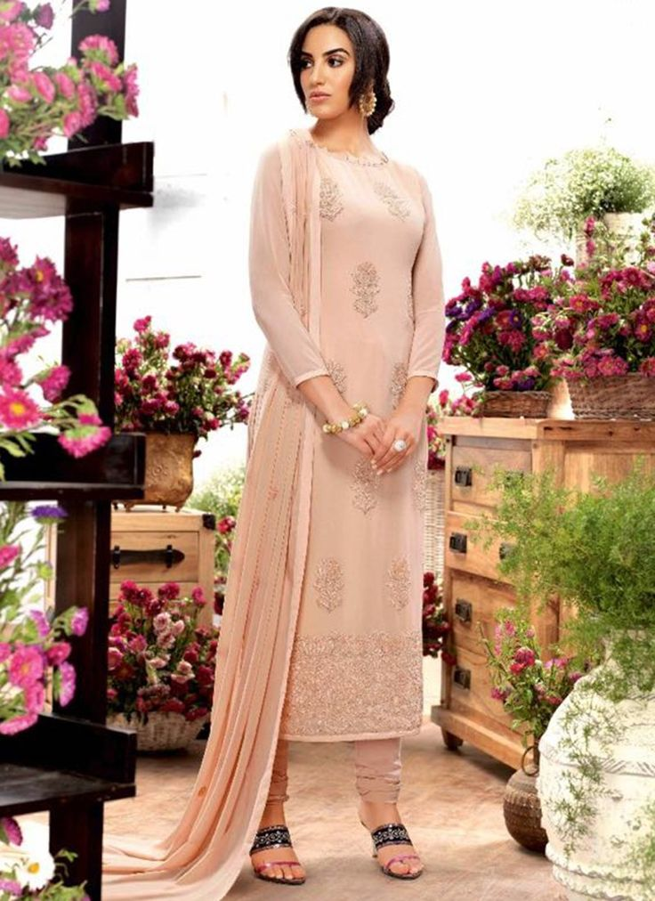 Mesmerizing Light Brown Coloured Georegette Embroidered  Work Indian Salwar Suit At Best Price By Uttamvastra - Online Shopping For Women