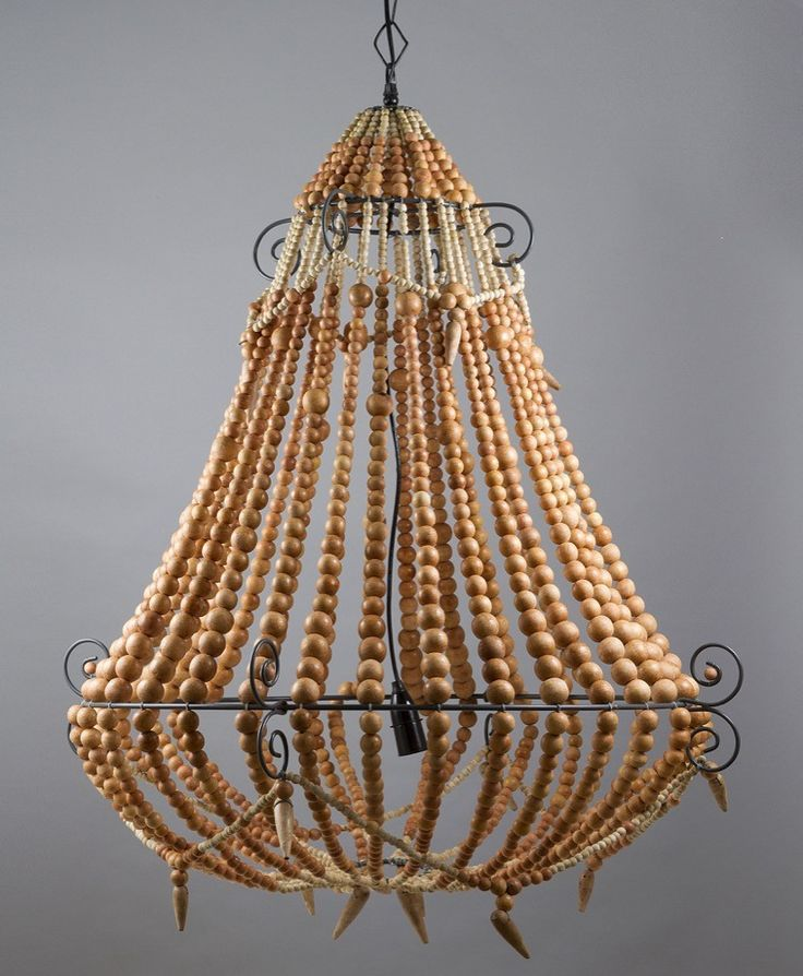 Beaded Chandelier Large Natural - CHANDELIER  - Emac & Lawton $795